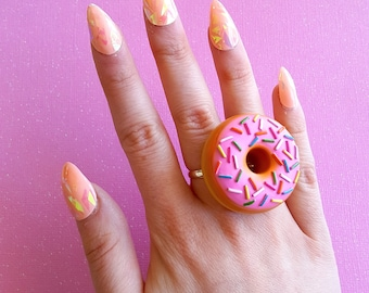 Donut Ring, Miniature Food, Large Pink Chocolate Doughnut Two Finger Ring, Pin Up Jewelry, Kawaii Jewelry, Knuckle Duster Ring