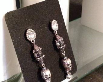 Silver skull post earrings