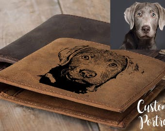 Custom pet portrait  pet lover gift pet memorial pet loss gift pet sympathy gift dog memorial personalized pet gifts for men wallet leather
