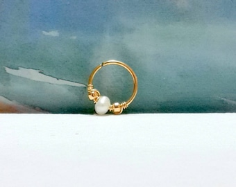Freshwater Pearl Cartilage Earring - Tragus Earring-Small Pearl Helix Ring-Tiny Hoop 14k Gold Filled or 925 Sterling Silver-Holiday Gifts