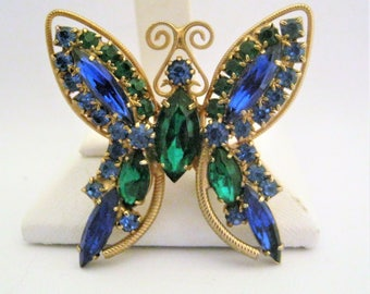Rhinestone Butterfly Brooch*Vintage Butterfly Rhinestone Pin Blue Green *1970's Jewelry*Prong Set*Sapphire Blue*Forest Green*Glass Stones