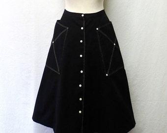1950s Vintage Cotton Canvas Skirt / Black & White A Line Skirt