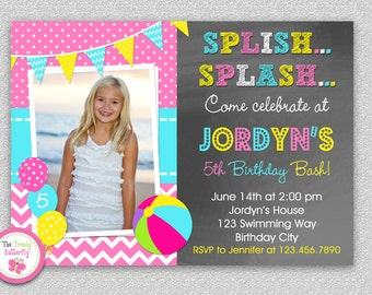 Pool Party Birthday Invitation,  Girl Pool Party Invite,  Swimming,  Kids Birthday, Pool Party Invitation, Girls Pool Party Invitation