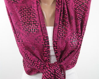 Mothers Day Gift For Her Hot Pink Scarf Shawl Wrap   Infinity Scarf Accessory   For Wife Gift For Mom Holiday clothing gift