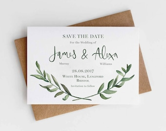 Olive Leaf Rustic Save the Date card