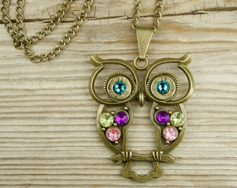 Bullet Necklace / Colorful Bronze Owl Brass Bullet Necklace WIN-380-B-CON / Owl Necklace / Brass Necklace / Custom Necklace / Lightweight