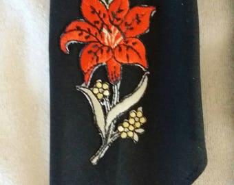 VINTAGE Men's BLACK with Red & Silver Flower CRAVAT Western Swing Rockabilly