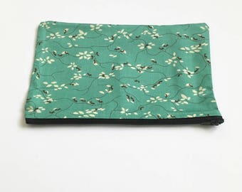 Cute Makeup Bag, Green Pencil Case, Cute Pencil Case, Nature Lover Gift, Floral Cosmetics Bag, Floral Pencil Case, Gifts for Her, Floral