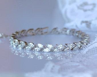 White Gold Bracelet, Crystal Bridal Bracelet, Rhodium Tennis Bracelet,  HAYLEY Crystal