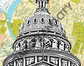 Texas State Capitol - Austin Map Background - 12x18 Print