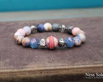 Bohemian bracelet Boho jewelry Gemstone bracelet Rose pink bracelet Rustic jewelry Beaded Boho bracelet Bohemian jewelry Stackable bracelet