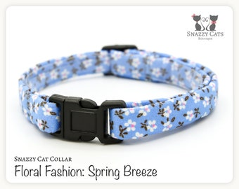 Snazzy Cat Collar: Spring Breeze - Floral Fashion Collection - Flowers on Blue Cat Collar - Handmade - Cats + Kittens Breakaway Collar