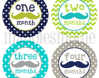 Monthly Baby Stickers Baby Boy Month Stickers Milestone Stickers Monthly Photo Stickers Bodysuit Mustache Moustache Blue Gray Navy (Myles)