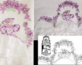 Southern Belle - Crinoline Lady pillowcase eyelet embroidery pattern AW3084 /AB7200