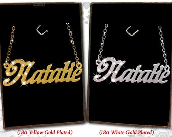 Name Necklace Natalie  - 18K Gold Plated, Czech Rhinestones
