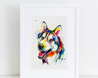Colorful Siberian Husky Art Print - Print of my Original Watercolor Painting