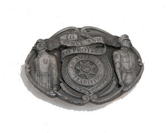Vintage to serve and to protect belt buckle heavy piece army police