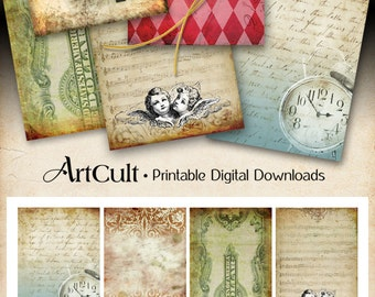 """Printable Download GROOVY BACKGROUNDS No1 - Digital Collage Sheet Jewelry Holders 2.5""""x3.5"""" size Images Gift tags art cult ephemera paper"""