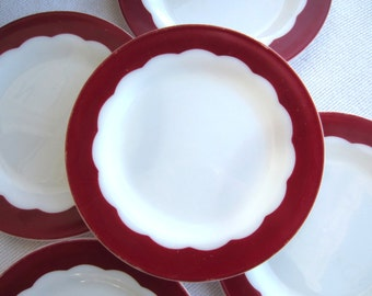 Vintage 1950's Milk Glass Dinner Plates White Red Scalloped Design Corning Dinnerware