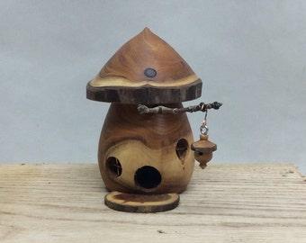 Fairy House - Handmade - Yew - Turned Wood - Mushroom - Upcycled - Waldorf Style - Unique - Tooth Fairy House - Mushroom Fairy House