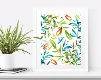 Tropical leaf printable art, Leaf wall art, Botanical prints download, Colorful wall art, Digital art nature, Digital download botanical