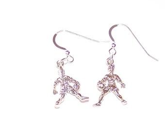 Sterling Silver 3D Female BASKETBALL Player Earrings -- Sports