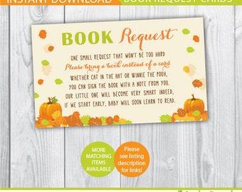 book request baby shower / fall book request / autumn book request card / bring a book instead of a card / bring a book baby shower insert