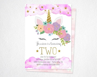 Unicorn Birthday Invitation Download- Unicorn Invitation- Magical Unicorn Birthday Invitation Printed- Pink and Gold Unicorn Invitation-