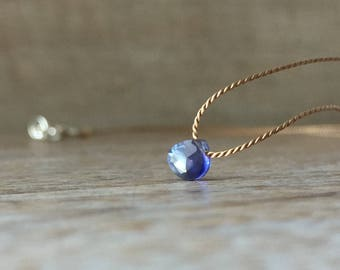 14K Gold filled Iolite Necklace, Silk Cord Necklace, Tiny Gemstone Necklace, Sterling Silver Iolite, September Birthstone, Dainty Necklace