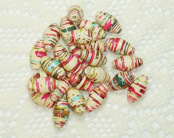 Paper Beads, Loose Handmade Jewelry Supplies Barrel Whimsy Glittered design on Beige