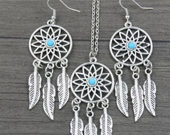 Brand new Bohemian Dreamcatcher leaves feathers necklace and earing pendant.