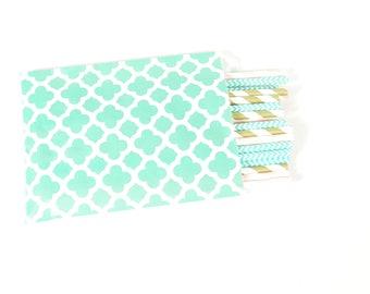 Aqua Paper Treat Bags - Quatrefoil Treat Bags - Set of 25 - Paper Treat Bags - Party Favor