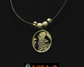 Howlin at the Moon Pewter Pendant Leather Rope Necklace