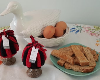 ROULETTE -  A pair of Beautiful Hand-knitted Egg Cosies