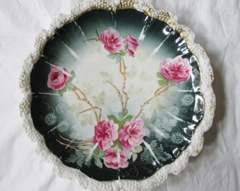 "8"" RS Prussia Plate, Pink Roses on Green, Hand Painted Signed, Red Mark c. 1900 (As Is)"