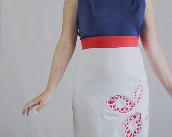 70s Butterfly Mini Dress // Vintage Red White and Blue Patriotic Sleeveless Dress // Size: S
