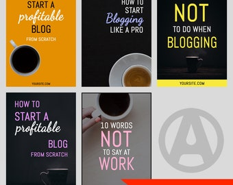 5 Coffee Themed Pinterest Pin Images Editable Pinterest Template