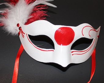 Japanese flag mask with feathers