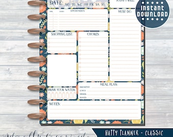 HAPPY PLANNER PRINTABLE Daily Planner Refills / Inserts - 7 x 9.25 | Navy Blooms | Create 365 | Me & My Big Ideas | mambi | Daily |Dashboard