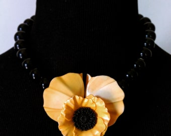 Vintage Lucite Poppy Necklace
