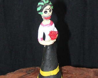 Vintage Day of the Dead Woman with Rose on Painted Clay