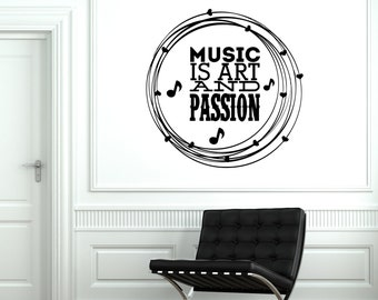 Wall Vinyl Decal Music Quote Passion Art Cool Decal For Bedroom Decor 1910di