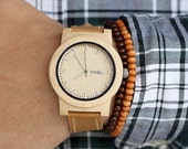 Wood Watch, Made from Maple Wood and Dark Leather Calfskin Strap - KNTY-L