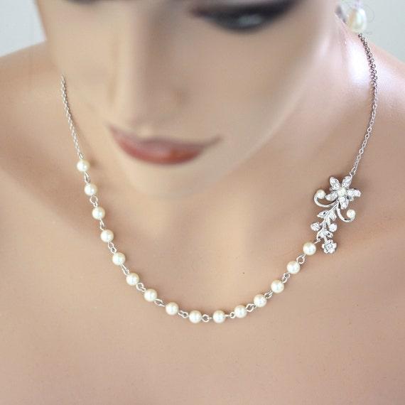 Indiangoldesigns Com Beautiful Antique Bridal Necklace: Pearl Bridal Necklace Vintage Wedding Rhinestone Flower Leaf
