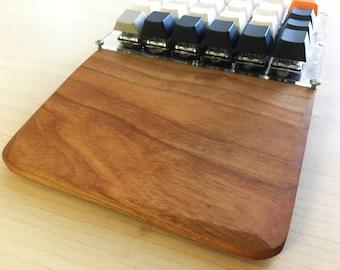 Custom solid wood split keyboard wrist rest