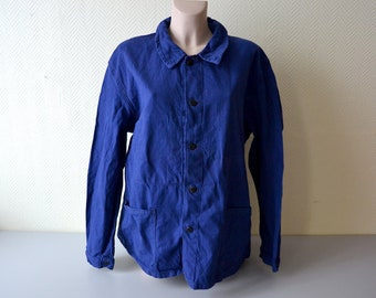 Vintage French Work Jacket / blue indigo chore jacket / size L