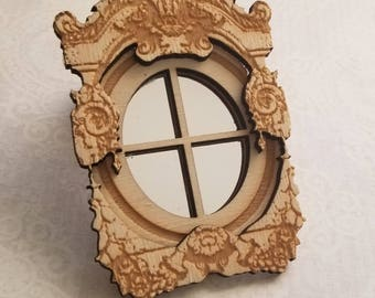 Miniature dollhouse window and dormer elegantly engraved 1:12 scale