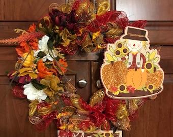 Fall Welcome Flower Wreath