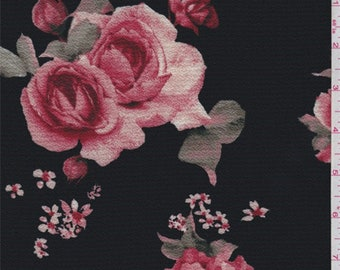Black/Brick Red Floral Hammered Crepe, Fabric By The Yard
