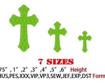 Cross Embroidery Pattern, 7 sizes, Machine Embroidery Design, Instant Download, Pes, Sew, Hus, VP3, VIP, Exp, Jef Format and more